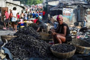 Merchants sell charcoal in open-air markets throughout Haiti. In Jérémie, a sack of charcoal costs about 500 gourdes or US$7.38.