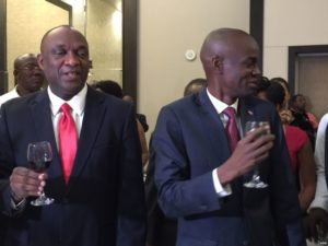 "Senate President Youri Latortue (left), whom even the U.S. Embassy describes as a ""Mafia boss,"" with his political ally President Jovenel Moïse on Feb. 7. Credit: VOA News"